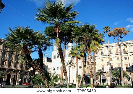 Cavour on the square of its name and church Chiesa Valdese in Rome Italy