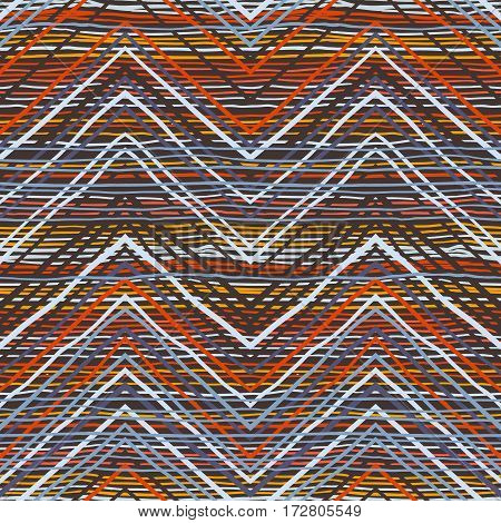 Vector ethnic chevron pattern with thin zigzag lines. Colorful print geometric print with tribal motifs. Native textiles and fabric designs. Seamless hand drawn background