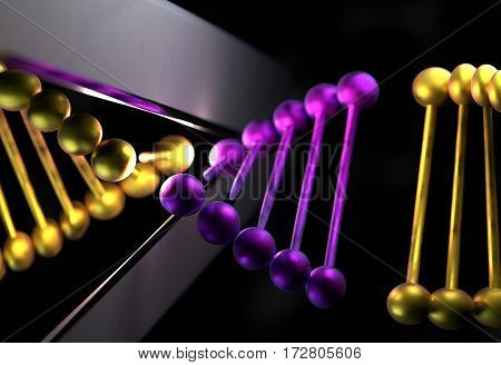 DNA strand in metal color cut with a scissor 3d render