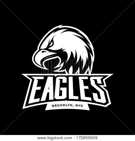 Furious eagle sport mono vector logo concept isolated on dark background. Web infographic New York Brooklyn team pictogram. Premium quality wild bird t-shirt tee print illustration