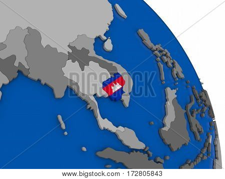 Cambodia And Its Flag On Globe