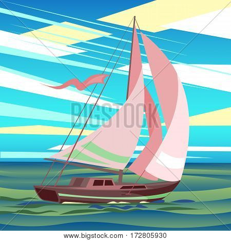 Stylized sea landscape with sailboat floating on the waves. Yacht, sea, clouds. vector illustration.