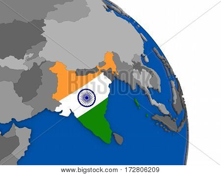 India And Its Flag On Globe