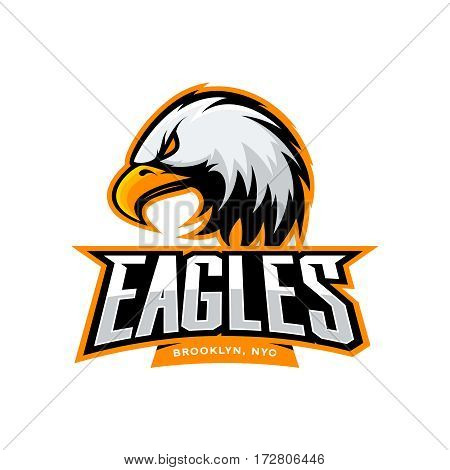 Furious eagle sport vector logo concept isolated on white background. Web infographic New York Brooklyn team pictogram. Premium quality wild bird t-shirt tee print illustration