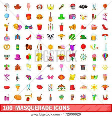 100 masquerade icons set in cartoon style for any design vector illustration