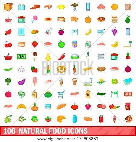 100 natural food icons set in cartoon style for any design vector illustration