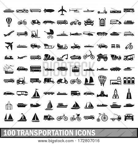 100 transportation icons set in simple style for any design vector illustration