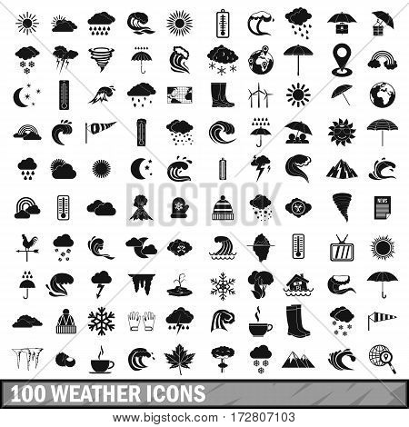 100 weather icons set in simple style for any design vector illustration