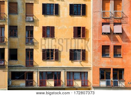 Old colored house in Florence at sunny day