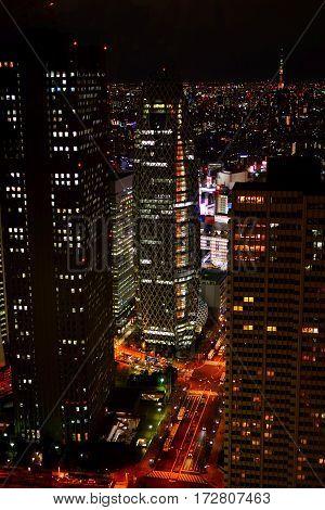 Tokyo cityscape at night in Shinjuku Japan