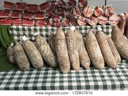 Salami Called Sopressa In Italian For Sale In The Peasant Farm,