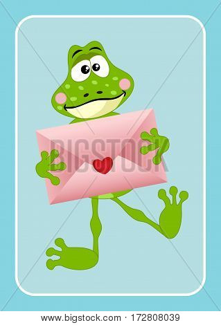 Scalable vectorial image representing a cute frog holding love envelope on blue bacground.