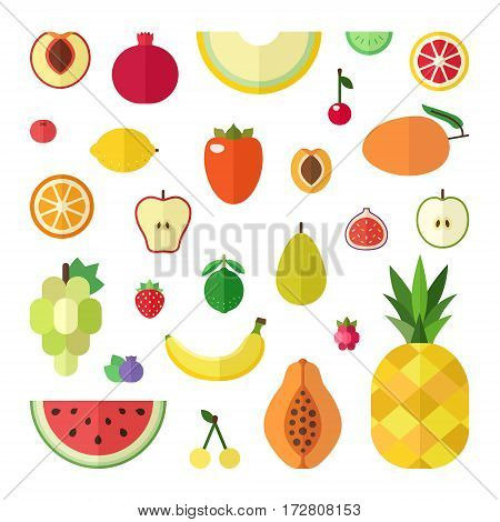 Fruit flat style big vector icon set (isolated). Menu design elements.