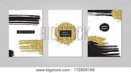 Black ink white and gold glitter hand drawn doodles and scribbles design templates vector set. Lines circles and drops. Part one.