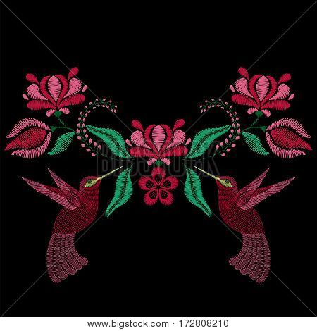 Embroidery with hummingbird, spring flowers. Necklace for fabric, textile floral print. Fashion design for girl wear decoration. Tradition ornamental pattern.