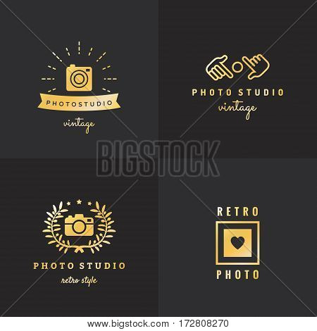 Photo gold logo vintage vector set. Hipster and retro style. Part two.