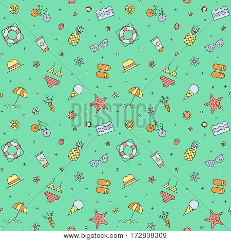 Summer beach seamless pattern (green). Clean and simple outline design.