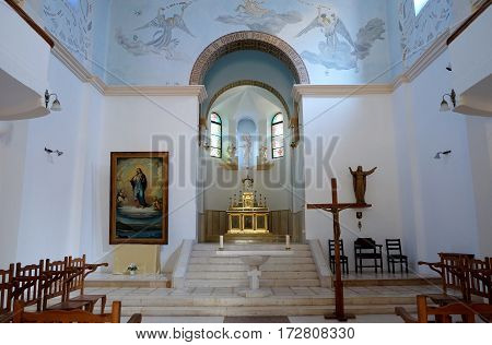 DEIR RAFAT ISRAEL - FEBRUAR 17 2017: Interior of the church in the monastery of Dir Rafatt also known as the Shrine of Our Lady Queen of Palestine and of the Holy Land