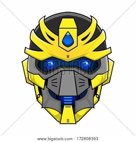 an illustration of yellow robot head with blue eyes