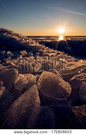 Dazzling ice stack at lake Peipus, Estonia