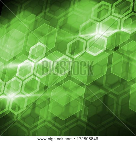 Abstract connection green hexagonal structure as connection concept on color background