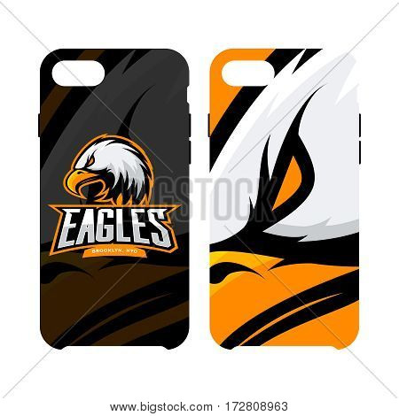 Furious eagle sport vector logo concept smart phone case isolated on white background. Web infographic New York Brooklyn team pictogram. Premium quality wild bird artwork cell phone cover illustration.
