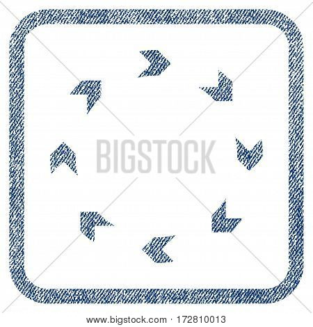 Circulation vector textured icon for overlay watermark stamps. Blue jeans fabric vectorized texture. Symbol with unclean design inside rounded rectangle.