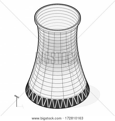 Vector cooling tower of power plant. Outlined concrete thermal power plant tower in isometric perspective with street lamps. Industrial architecture, power station tower, cylindrical building.