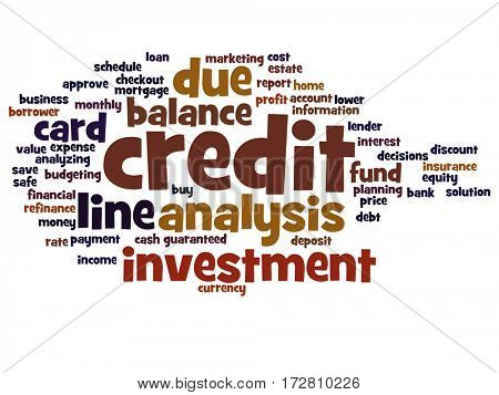 Concept or conceptual credit card line investment balance abstract word cloud isolated on background