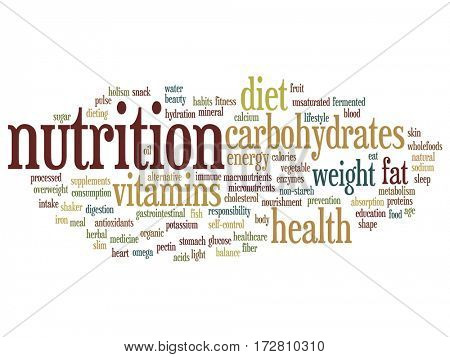 Concept or conceptual nutrition health or diet abstract word cloud isolated on background