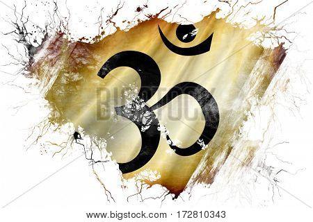 Grunge old Om / aum symbol flag