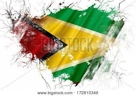 Grunge old Guyana  flag