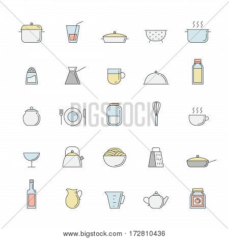 Crockery and cooking outline multicolored big icon set. Clean and simple design.