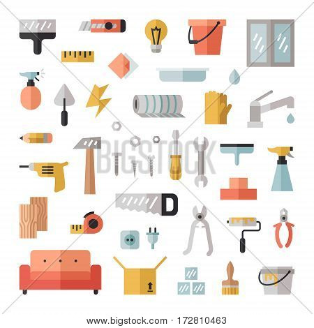 Home repair and construction flat style big icon set (vector).