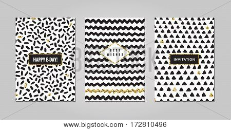 Black ink white and gold glitter hand drawn doodles and scribbles design templates vector set. Strokes zigzags and triangles. Part three.