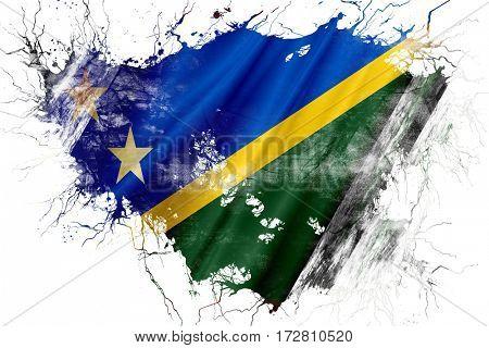 Grunge old Solomon islands  flag