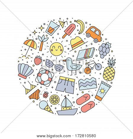Summer beach multicolored circle illustration. Clean and simple outline design.