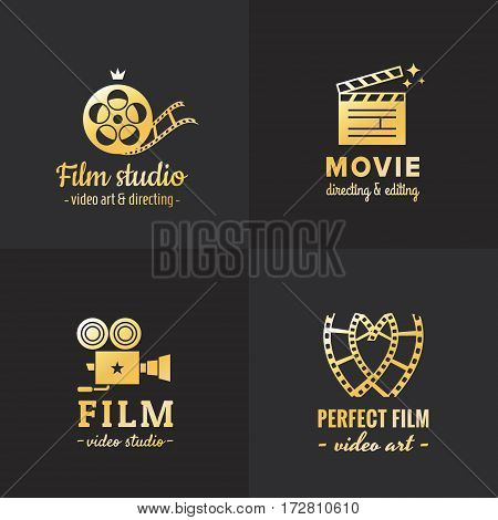 Film movie and video logo vintage vector set. Hipster and retro style. Part one.