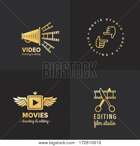 Film movie and video logo vintage vector set. Hipster and retro style. Part two.