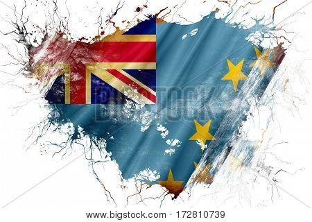 Grunge old Tuvalu  flag