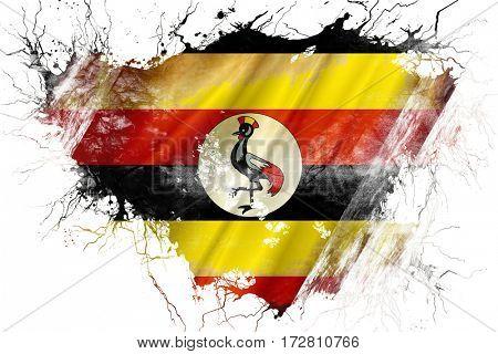 Grunge old Uganda  flag
