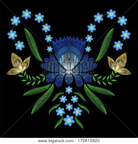 Embroidery stitches with spring flowers forget me not. Vector fashion ornament on black background for textile, fabric traditional folk floraldecoration.