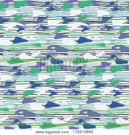 Striped hand painted vector seamless pattern with ethnic and tribal motifs, thin lines, brushstrokes and splatters of paint in multiple bright colors for summer fall fashion