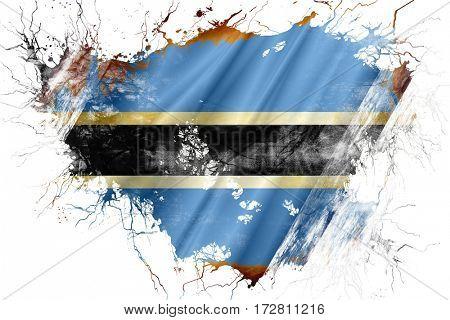 Grunge old Botswana  flag