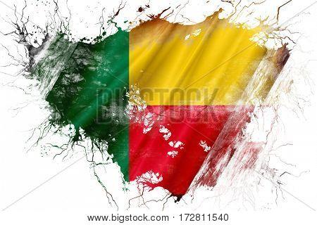 Grunge old Benin  flag