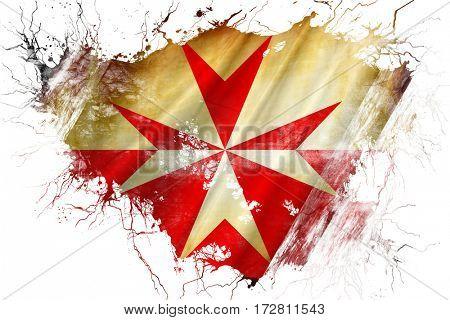 Grunge old Malta knights symbol flag