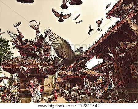 Pigeons fly over the old town square. Pigeons flock flying up from the ground. Romantic image of old town Kathmandu. Sunny day in Nepal capitol city center. Flying pigeons in old style painting style