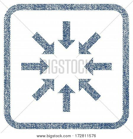 Collapse Arrows vector textured icon for overlay watermark stamps. Blue jeans fabric vectorized texture. Symbol with dirty design inside rounded rectangle.