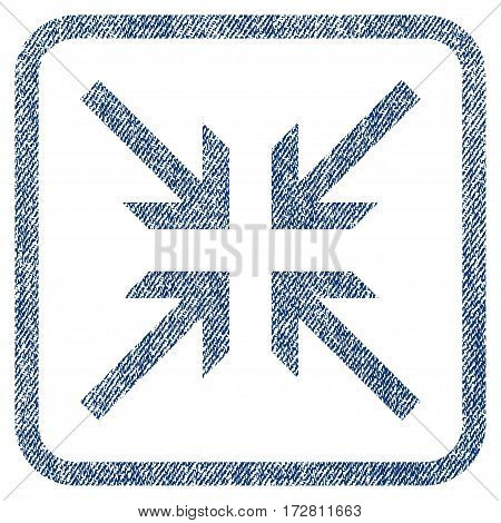 Collide Arrows vector textured icon for overlay watermark stamps. Blue jeans fabric vectorized texture. Symbol with dust design inside rounded rectangle.