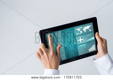Tablet pc device with medicine interface screen in hands of doctor.